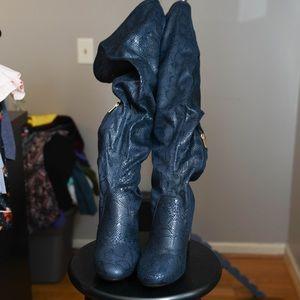 Navy blue faux snakeskin thigh high boots Sz 11